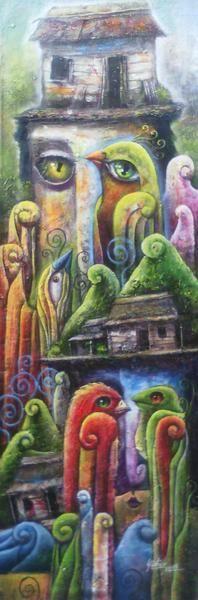 "Yidier Llanes Rodríguez BIRD FACE 23"" x 9"" Acrylic on Canvas CUBANOCANADIAN CUBAN ARTWORK"