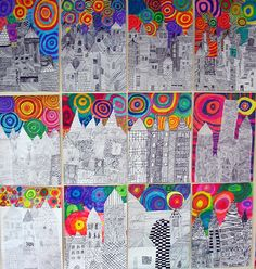Fireworks over city, 5th grade originally.  Wonderful combination of black and white designs (possibly zentangles?) and color!  Maybe good for a sub lesson....