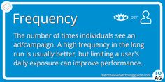 Frequency is the number of times an ad is seen can determine how effective it is. 3 times per 24 hours is generally the most effective frequency. Marketing Definition, Online Advertising, Make More Money, When Someone, Definitions, Need To Know, Digital Marketing, Campaign