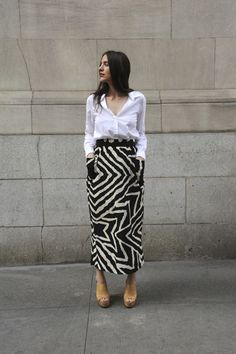 printed skirt + white button-up