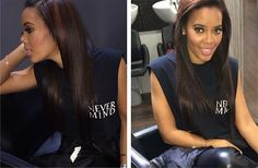 A post about Angela Simmons reveal of her natural hair after a fresh flat iron and taking care of your hair under a weave.