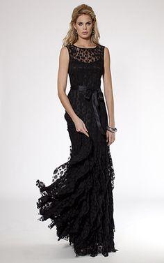 Black Sleeveless Pintuck Lace Gown - Teri Jon