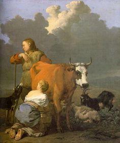 WOMAN MILKING A RED COW, BY KAREL DUJARDIN