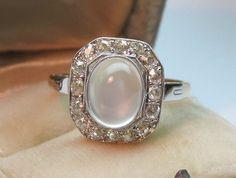 Moonstone Old Mine Cut Diamond Halo Ring French Art Deco 18K Gold Platinum | eBay