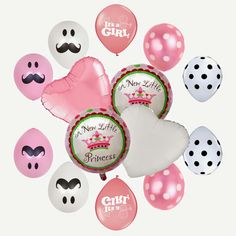 Its a girl! Baby shower balloons w/ mustaches!