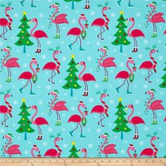 Frosty Flamingo Flamingos Bright from @fabricdotcom  Designed by Laura Berringer for Marcus Brothers, this cotton print fabric features flamingos ice skating around Christmas trees. Perfect for quilting, apparel and home decor accents. Colors include white, black, green, light green, yellow, red and shades of pink and blue.