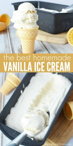 Try this Easy homemade vanilla ice cream recipe! It is so creamy and delicious. Plus, you don't need an ice cream maker for this easy ice cream recipe! This easy vanilla ice cream recipe is so simple to make. Make it this summer for the kids! #eatingonadime #vanillaicecream #homemadeicecream #icecream #easyicecream