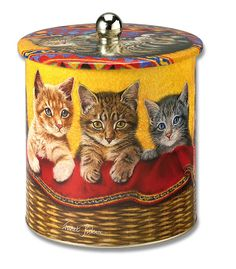 Biscuit tin with cats