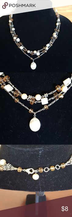 Beaded 3 strand necklace Lucite beads Beaded 3 strand necklace Lucite beads Vintage Jewelry Necklaces