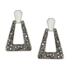 Belle Noel by Kim Kardashian Palladium Nugget Enamel Earrings ($38) ❤ liked on Polyvore featuring jewelry, earrings, accessories, brincos, orecchini, belle noel by kim kardashian, enamel earrings, dangle earrings, triangle jewelry and dangling jewelry