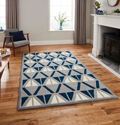 From 119 99 Free Uk Delivery Affordable Hand Tufted Rugs The Hk 1374 Grey Navy Geometric Rug Is Handmade With Acrylic Yarn That Offers A Thick
