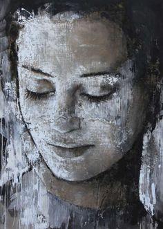 "41- ""Into You"" Max Gasparini, 2016, acrylic on board and jute (74 x 102cm)"