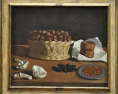 Attributed to Paolo Antonio Barbieri: Kitchen Still Life (c. 1640) Basket of chestnuts, cheeses, almonds, currants and mushrooms.