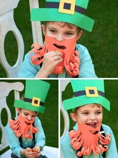 Such a cute Leprechaun construction paper costume -- looks awesome + quick and easy!