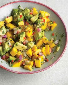This salsa goes well with grilled or broiled chicken, pork, seafood, or beef-1 avocado, 1 mango, 1 small red onion, 1/4 c cilantro, lime juice, olive oil salt.