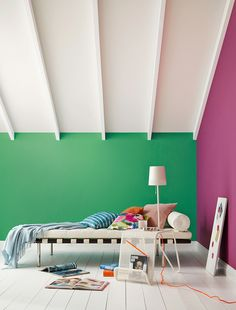 Bold on trend shades designed to complement Crown Paints Standard Emulsion. Shown here in Secret Escape by Crown Paints.