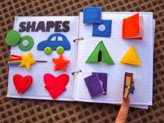 Shapes page an example of each shape (for ex., triangle = tent)