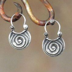 Blättern Sie Ohrringe - Sterling Silber Creolen - sehr klein