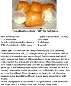 Texas Roadhouse Rolls YES The Real Recipe The post Texas Roadhouse Rolls YES The Real Recipe appeared first on Daisy Dessert. Bread Recipes, Baking Recipes, Chicken Recipes, Ma Baker, Bagels, Dinner Rolls, Restaurant Recipes, Bread Baking, Yeast Bread