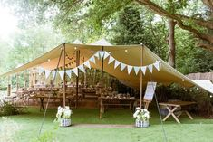 Laid Back Summer Garden Party Wedding in Stretch Tents Decoration Buffet, Garden Party Decorations, Wedding Decorations, Garden Lighting Party, Rustic Garden Party, Wedding Ideas, Festival Decorations, Table Decorations, Wedding Cake Rustic