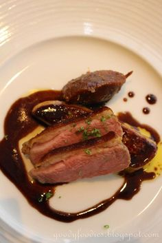 Smoked duck breast with foie gras, served with fig and date chutney