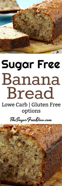Wow- no sugar added banana bread. There are gluten free and lower carb options too! #sugarfree #bread #baking #banana #glutenfree #lowcarb #breakfast #bake