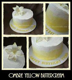 Ombre Yellow Buttercream cake #cake #birthday #muddacake
