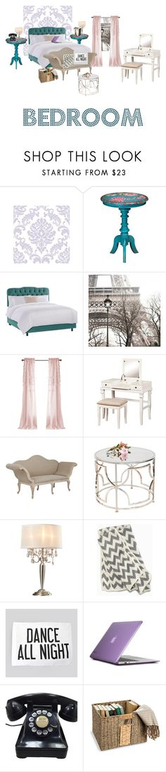 """B E D R O O M"" by andytorres3308 on Polyvore featuring interior, interiors, interior design, home, home decor, interior decorating, WallPops, Home Decorators Collection, Universal Lighting and Decor and OKA"