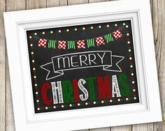 Christmas Sign Instant Download ~ Printable Christmas Photo Prop ~ Merry Christmas Chalkboard Sign Poster Decoration Decor ~ Christmas Gift by SubwayStyle on Etsy
