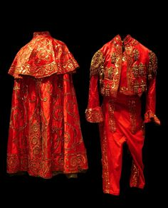 Matador traditional outfit made of silk satin and metal, Spain, c.1940.