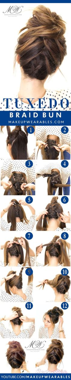 5 Gorgeous Messy Updos For Long Hair Tuxedo Braid Bun Tutorial 5 Messy Updos for Long Hair check it out at makeuptutorials c Messy Bun With Braid, Messy Updo, Braided Buns, Bun Braid, Messy Hair, Casual Updos For Medium Hair, Cute Messy Buns, Easy Updos For Long Hair, Braid Headband