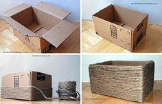 Premena krabice na praktický úložný box postup