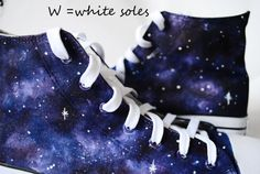 Custom handpainted purple galaxy sneakers.  Acrylic paint on canvas non-brand shoes (hi lor low top), Converse or Vans  Every size is possible. --->