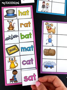 Students match the words to the pictures. Each card is sorted by word family. Phonemic Awareness Activities, Rhyming Activities, Kids Learning Activities, Kindergarten Centers, Homeschool Kindergarten, Kindergarten Literacy, Literacy Work Stations, All About Me Preschool, Rhyming Words