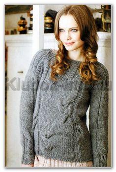 Вязание спицами. Однотонный пуловер с круглой кокеткой и частичными косами. Размеры: S(M)L(XL)