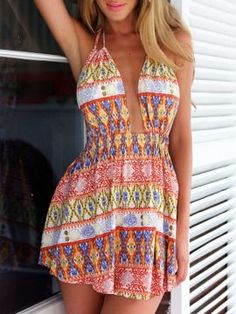 Shop Multicolor Tribe Low Cut Halter Romper Playsuit from choies.com .Free shipping Worldwide.$23.99