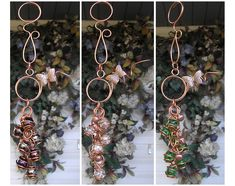 A gorgeous handmade copper and glass wind chime, available in a variety of colors! Handmade Copper, Handmade Art, Glass Wind Chimes, Metal Garden Art, Unique Gardens, Creative Art, Creative Ideas, Decorative Items, Hand Painted