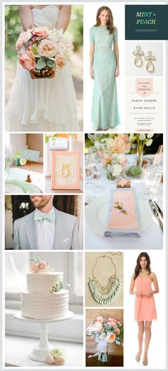 Mint + Peach Wedding Inspiration.
