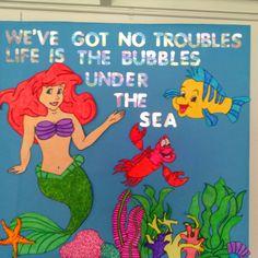 Ocean theme bulletin board or door :) - Decoration For Home Disney Bulletin Boards, Preschool Bulletin Boards, Classroom Bulletin Boards, Ocean Kids Crafts, Preschool Activities, Disney Classroom, Classroom Themes, Ocean Themes, School Themes