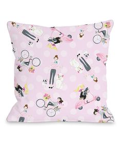 Look at this Pink Moped Bike Dogs Throw Pillow on #zulily today!
