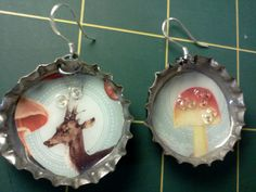 Upcycled Bottlecap Earrings featuring Deer by upcycledConfections,