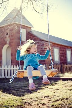 Cute little girl having fun on the swings Simple country joys of life #LIFE #LOVE #HAPPY