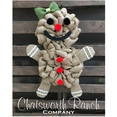 The Original Gingerbread Wreath Christmas Holiday Burlap Wreath... ($120) ❤ liked on Polyvore featuring home, home decor, dark olive, home & living, home décor, wall décor, wall hangings, burlap home decor, handmade christmas wreaths and burlap wreath