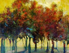 Summer Shadow trees landscape yellow red, painting by artist Bente Hansen