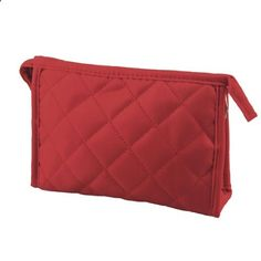 TOOGOO(R) 7.9 Long Grid Print Rectangle Travel Case Makeup Zipper Bag Red for Woman. View website for more description.