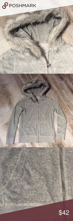 Michael Kors Faux-Fur Trim Hooded Sweatshirt Great condition super cute faux fur trim heather grey sweater shirt. Worn a few times but have to give up bc it's too small for me. This is perfect for winter! Super soft. Cotton, Polyester, Acrylic mix. Dry clean only. Michael Kors Tops Sweatshirts & Hoodies