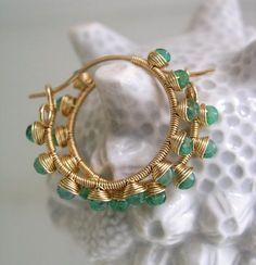 Emerald Gold Filled Hoops Green Gemstone Earrings by bellajewelsII Gemstone Earrings, Beaded Earrings, Earrings Handmade, Handmade Jewelry, Wire Wrapped Jewelry, Wire Jewelry, Beaded Jewelry, Jewelery, Jewelry Accessories
