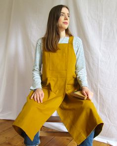Sturdy cotton canvas, offers good protection for work, crafts, home and garden. The split skirt gives lots of movement, whilst ensuring each leg is perfectly covered when sitting at the wheel or work bench. Fantastically comfortable design, with cross back straps, no ties around the neck - bib pocket for small tools, roomy side pocket, loop for cleaning cloth. Split Legs, Split Skirt, Back Strap, Petite Size, Cotton Canvas, Apron, Skirts, Clothes, Fashion