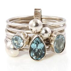 handmade aquamarine silver stacking ring by charlotte's web   notonthehighstreet.com