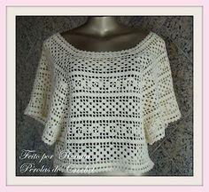 * Pérolas do Crochet: Blusa em crochet filé